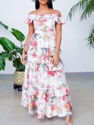 Women Off the Shoulder Ruffled Short Sleeve Multi-layered Maxi Holiday Summer Dress