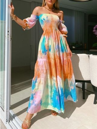 Off the Shoulder Tube Top Lantern Short Sleeve Printed Pleated Maxi Summer Dress
