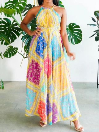 Straps Sleeveless Open Back Printed Stitching Color Maxi Swing Summer Dress