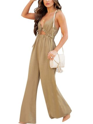 Summer Women Straps Deep V-Neck Cut Out Ruffled Open Back Solid Color Casual Wide Leg Jumpsuits