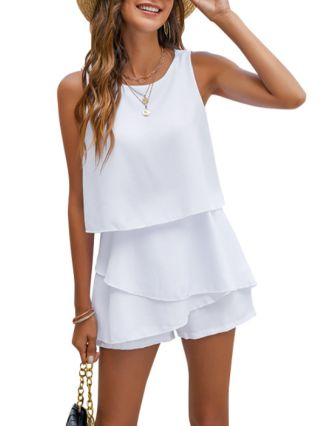 Spring Summer Chiffon Sleeveless Round Neck Solid Color Irregular Multi-layered Rompers