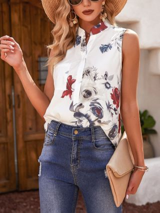 Women Summer Sleeveless Stand Collar Single Breasted Floral Printed T-shirt Blouse Tops