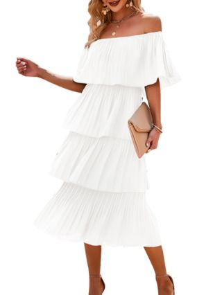 Women Spring Summer Off the Shoulder Ruffled Solid Color Multi-layered Long Swing Dress
