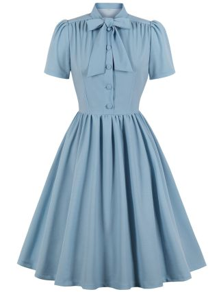 Vintage Dress Women Bowknot Stand Collar Short Sleeve Single Breasted Solid Color Midi Swing Dresses