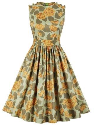 Sleeveless Round Neck Single Breasted Floral Printed Belted Midi Swing Dress