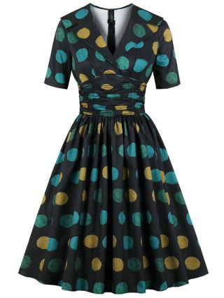 Vintage Large Polka Dot Printed Lapel V-Neck Half-sleeve Midi Swing Summer Dress
