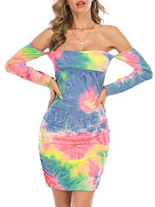 Spring Off the Shoulder Long Sleeve Tie Dye Draped Short Bodycon Dress