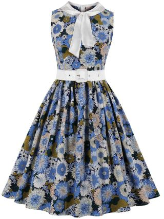 Summer Dress Bow Tie Round Neck Sleeveless Floral Printed Belted Vintage Midi Swing Dresses