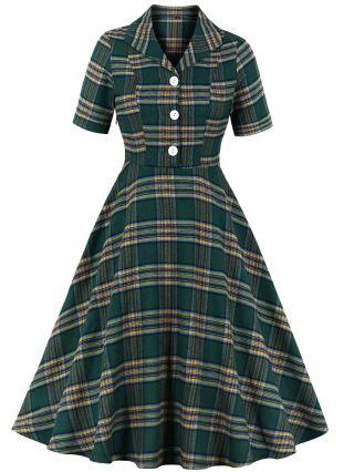 Spring Lapel Short Sleeve Single Breasted Plaid Hepburn Style Vintage Midi Swing Dress