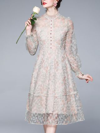 Flower Embroidery Half High-neck Long Sleeve Single Breasted Gauze Stitching Lace Midi Dress