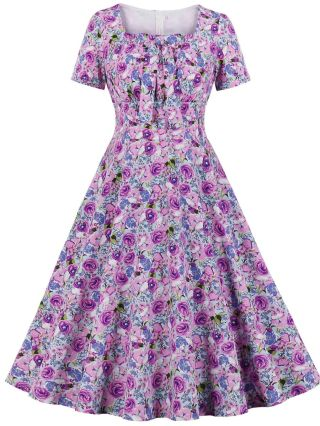 Summer Dress Women Vintage Square Neck Short Sleeve Bowknot Floral Printed Pleated Midi Swing Dresses