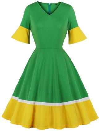 Contrast Color Bell Short Sleeve V-Neck Vintage Midi Swing Summer Dress