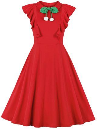 Red Dress Summer Ruffled Sleeveless Lapel Bowknot Pom Pom Vintage Midi Swing Dresses