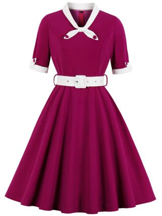 Vintage Bowknot V-Neck Half-sleeve Stitching Color Belted Midi Swing Summer Dress
