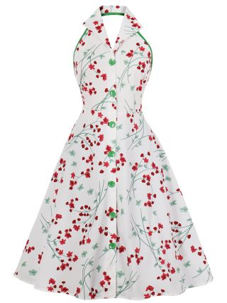 White Dress Halter Open Back Floral Printed Lapel Sleeveless Single Breasted Short Vintage Dresses