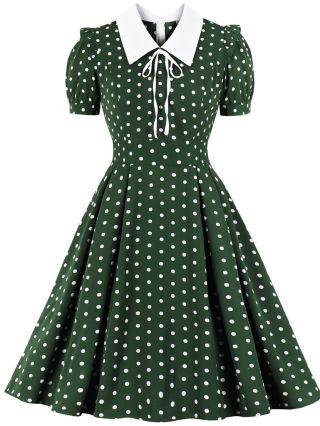 Spring Summer Women Polka Dot Printed Bowknot Lapel Short Sleeve Vintage Midi Swing Dress