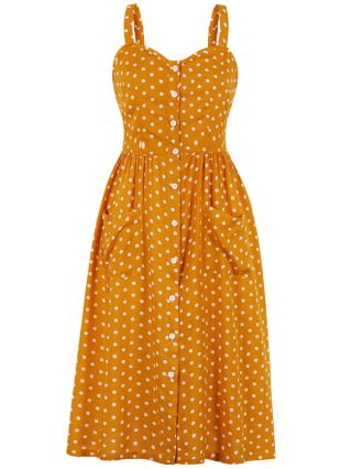 Yellow Dress Summer Straps Backless Pleated Polka Dot Printed Single Breasted Pockets Casual Midi Dresses