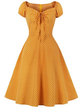 Yellow Dress Women Polka Dot Printed Drawstring Square Neck Short Sleeve Vintage Midi Swing Dresses