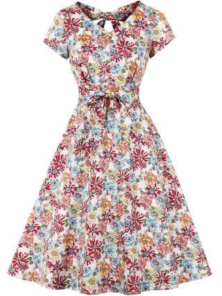 Vintage Floral Printed Dress V-Neck Bowknot Open Back Belted Midi Swing Summer Dresses