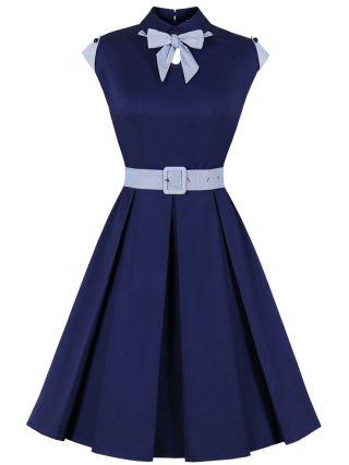 Navy Blue Dress Striped Stitching Bowknot Lapel Short Sleeve Belted Vintage Midi Swing Dresses