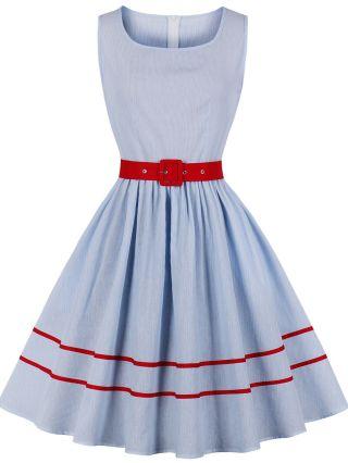 Blue Dress Striped Contrast Color Sleeveless Square Neck Belted Vintage Dresses
