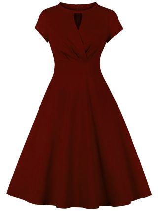 Hepburn Style Vintage Solid Color Round Neck Hollow Short Sleeve Midi Swing Evening Prom Dress