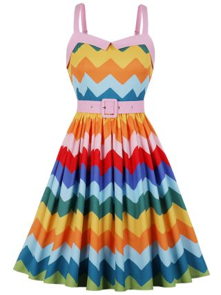 Straps Open Back Colorful Wavy Striped Belted Midi Swing Vintage Summer Dress