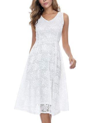 White Black Lace Dress V-Neck Sleeveless Midi Cocktail Party Prom Dresses