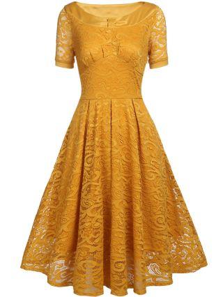 Wedding Guest Dress Short Sleeve Round Neck Lace Midi Bridesmaid Evening Dresses