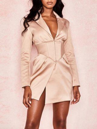 Women Long Sleeve Deep V-Neck Lapel Suit Coat Irregular Short Work Dress Party Evening Dresses
