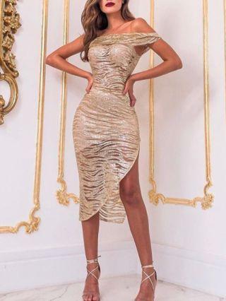 Gold Dress Wedding Guest Dress Off the Shoulder Raglan Sleeve Irregular Midi Pencil Party Evening Dresses