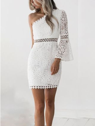 Wedding Guest Dress White Dress One Shoulder Long Sleeve Lace Hollow Short Bodycon Party Evening Dresses