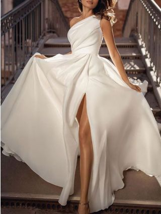 Wedding Guest Dress White Dress One Shoulder Sleeveless Solid Color Maxi Split Evening Dresses