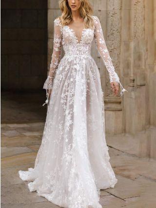 Wedding Guest Dress White Dress Bell Long Sleeve Deep V-Neck Open Back Lace Maxi Evening Prom Dresses