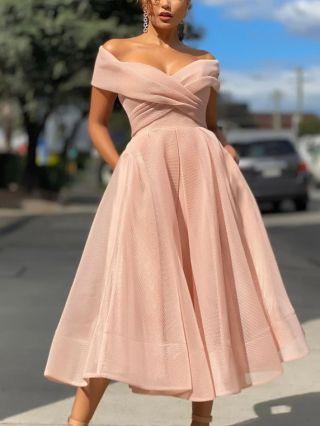 Wedding Guest Dress Pink Dress Off the Shoulder Raglan Sleeve Gauze Bridesmaid Evening Long Dresses