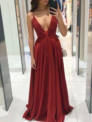 Wedding Guest Dress Red Dress Deep V-Neck Slip Open Back Bandage Maxi Evening Prom Dresses