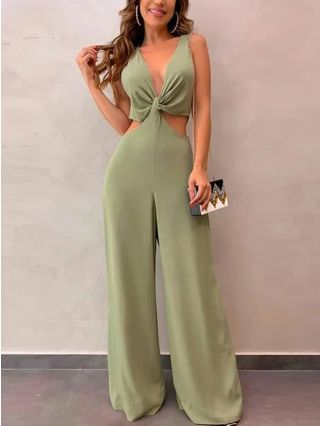 Women Sleeveless Deep V-Neck Cut Out Backless Solid Color Wide Leg Jumpsuits