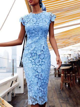 Wedding Guest Dress Blue Dress Sleeveless Round Neck Lace Midi Pencil Dresses
