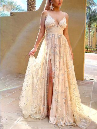 Wedding Guest Dress Slip Deep V-Neck Open Back Sequins Maxi Split Evening Prom Dresses