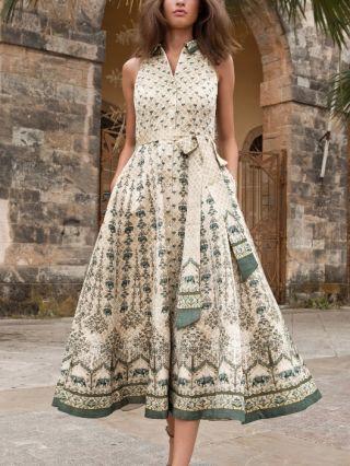Beige Dress Vintage Sleeveless Lapel Printed Single Breasted Belted Summer Long Dresses
