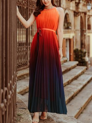 Orange Dress Sleeveless Round Neck Gradient Color Belted Pleated Maxi Swing Summer Dresses