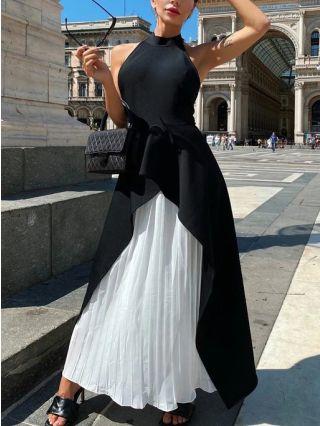Wedding Guest Dress Black Dress Sleeveless Halter Contrast Color Irregular Ruffled Pleated Maxi Evening Dresses