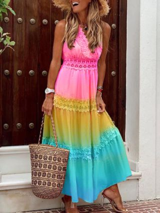 Summer Dress V-Neck Sleeveless Gradient Color Lace Hollow Stitching Loose Maxi Holiday Dresses