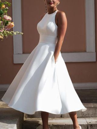 White Dress Halter Sleeveless Lace Stitching Open Back Solid Color Summer Long Dresses