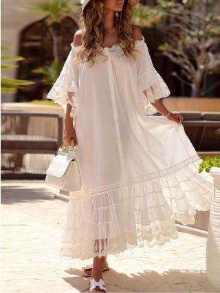 White Dress Off the Shoulder Half-sleeve Single Breasted Multi-layered Flounced Hem Maxi Summer Dresses