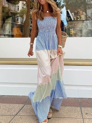 Blue Dress Sleeveless Straps Open Back Bowknot Pleated Striped Stitching Color Maxi Summer Holiday Dresses