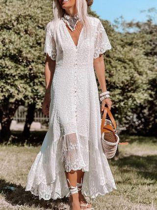 White Dress V-Neck Short Sleeve Lace Flowers Gauze See-through Single Breasted Irregular Maxi Summer Dresses