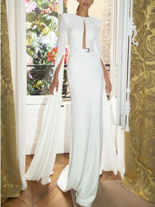 White Dress Split Cape Long Sleeve Round Neck Hollow Solid Color Belted Maxi Evening Prom Dresses