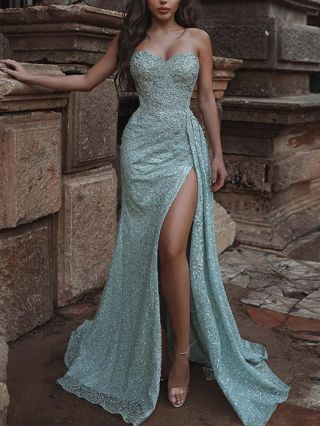 Wedding Guest Dress Green Dress Strapless Tube Top Open Back Solid Color Maxi Split Evening Prom Dresses