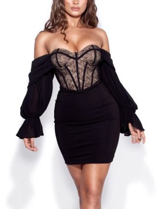 Black Dress Off the Shoulder Lantern Long Sleeve Tube Top Lace Stitching Short Bodycon Dresses